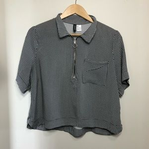 H&M Divided Black and White Checkered Crop Top
